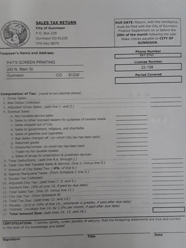 sales tax form 0120